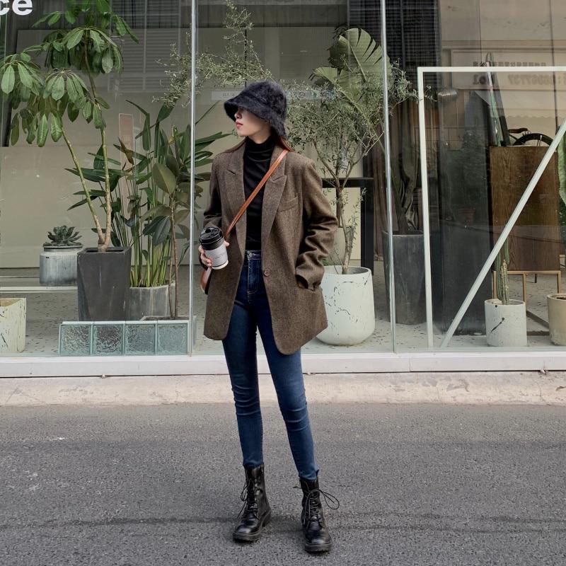 Fashion Autumn Women Stripe Woolen Blazers And Jackets Work Office Lady Suit Slim Double Breasted Business Female Blazer Coat