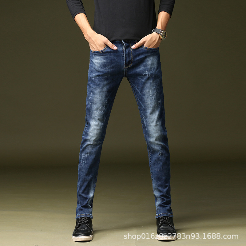 [] Spring Summer Fashion Jeans Trend Versatile Micro Elastic Slim Fit Straight-Cut Men's Trousers 1 PCs Color 8183