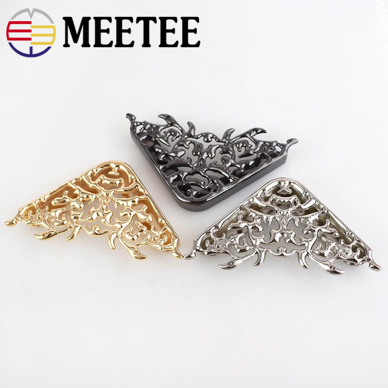 Meetee 4/10pcs 46*63mm Bag Corner Protector Metal Buckles Luggage Leather Handbag Clothing DIY Handmade Decor Accessories BD303