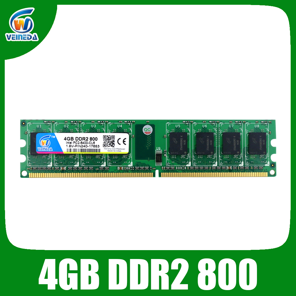 VEINEDA <font><b>DDR2</b></font> 800Mhz/<font><b>667Mhz</b></font> <font><b>4gb</b></font> Super Speed Memoria Ram pc2 6400 for Motherboard Desktop image
