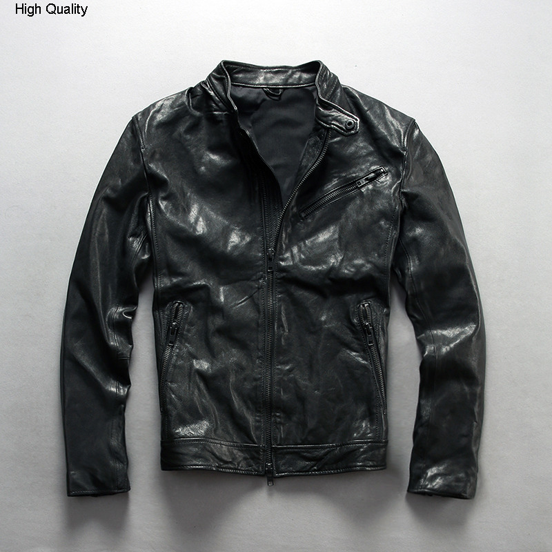 Fashion Genuine Leather Jacket Sheepskin Real Genuine Leather Coat Black Male Motorcycle Biker Slim Fit Man's Coat