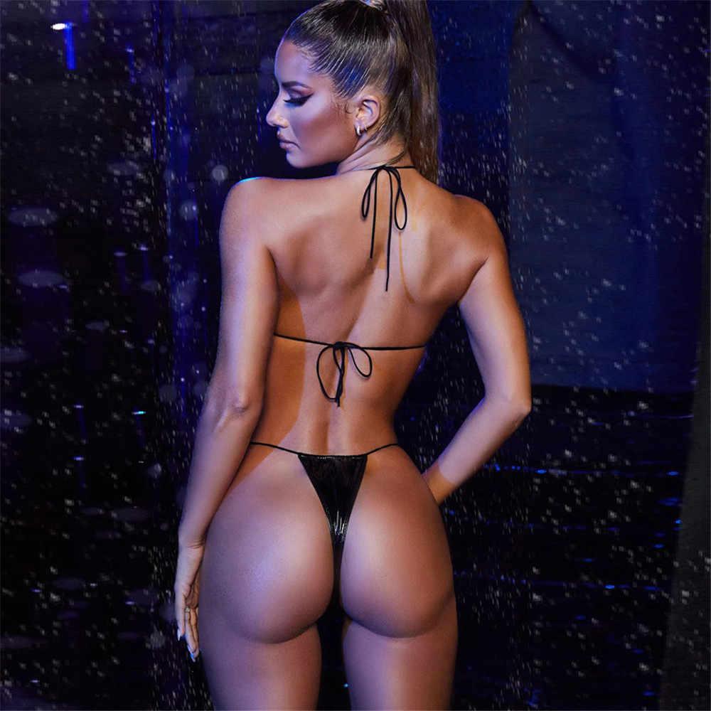 2020 novo push up acolchoado maiô brizilian hirigin sexy tanga biquíni feminino couro plutônio bandagem banho praia