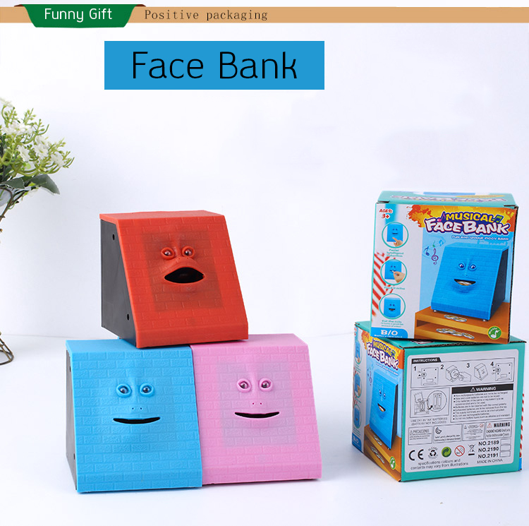New High Quality Face Bank Money Box Coin Automatically Saving Bank Chewing Piggy Bank For Kids Friend Birthday Christmas Gift