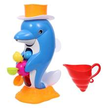 1pc Bath Toys Dolphin Cute Colorful Safe Bath Time Fun Toys Baby Dolphin Toys Funny Spring Toys Gift For Babies(China)