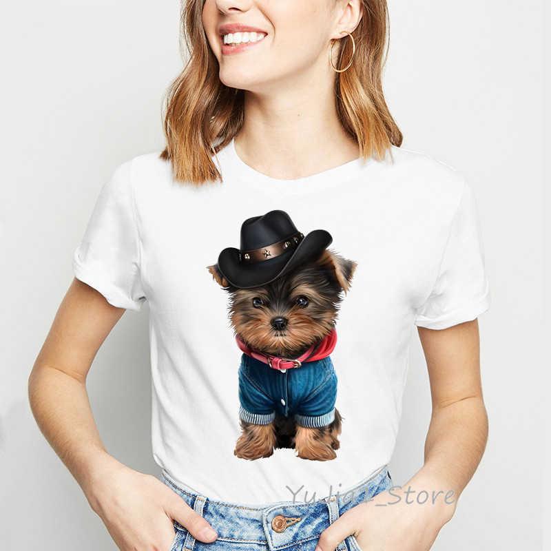 Adorabile yorkies dog stampato tshirt donne kawaii animal print tee shirt femme bianco personalizzato t shirt t-shirt top vestiti