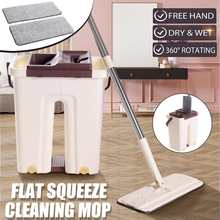 Magic Cleaning Mops Free Hand Mop with Bucket Flat Squeeze Mop Wet Dry Automatic Spin Self Cleaning Lazy Mop Home Floor Cleaner(China)