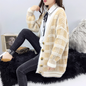 Women Winter Cardigan Sweater Knitted Korean version knitted jacket 2019 hippocampus Wool Plaid long section autumn Wear Loose