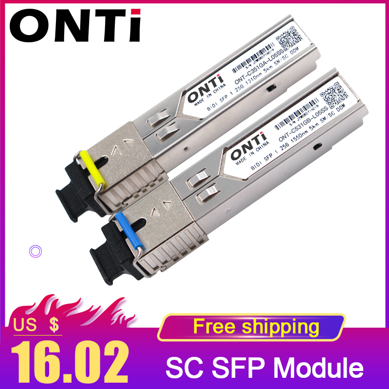 1.25G  BIDI SFP SC Connector Transceiver Module Gigabit Single Mode Single Fiber Optical Ethernet Compatible With Cisco Switch 5