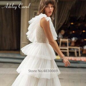Image 4 - Ashley Carol One Shoulder Wedding Dresses 2020 Vestido De Noiva Tiered Ruffles Tulle Sleeveles Bride Beach A Line Bridal Gowns