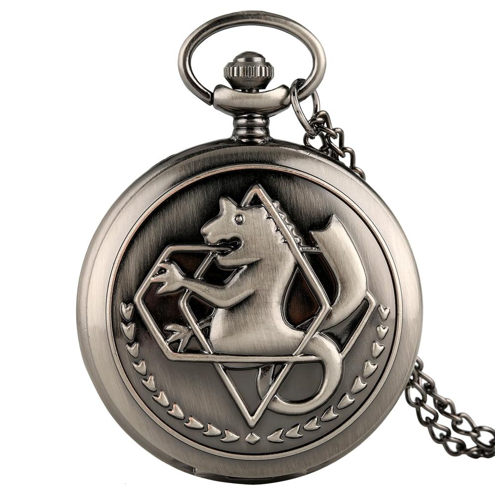 Classic Quartz Pocket Watch For Male Antique Gray Quartz Necklace Chain Pocket Watch For Boys Elegant Business Pocket Watch