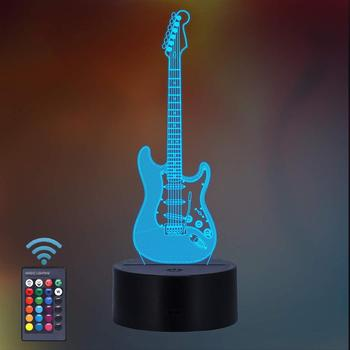 Guitar Night Light 3D LED Lamp 7 Color Change Led USB Touch Remote Control Bedroom 3D Table Lamp Atmosphere Lamp Christmas Gift remote touch control 3d led night light led table desk lamp dolphin led night light color change 3d led light for kids gift 30