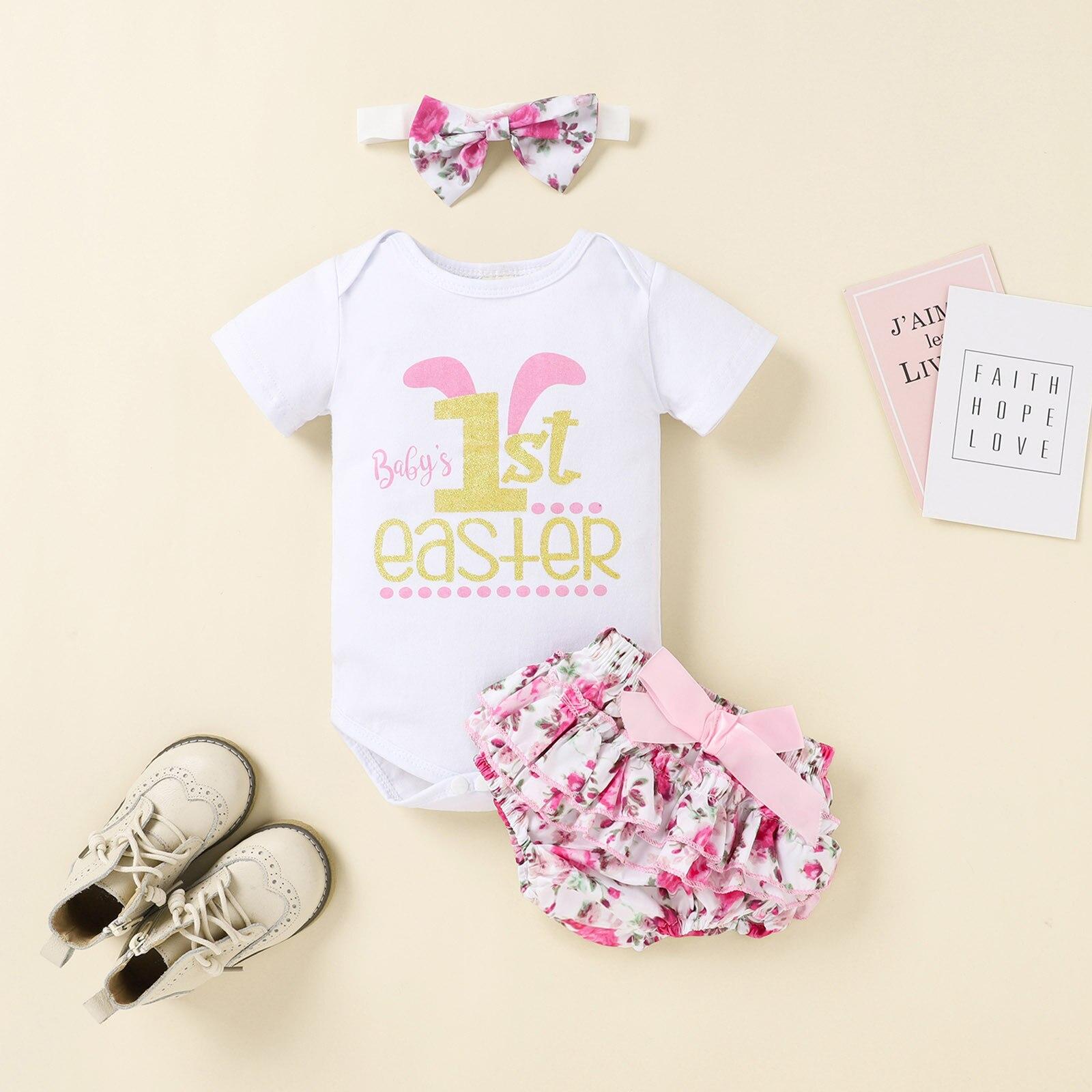 Мой первый Пасхальный комплект одежды для маленьких девочек, Одежда для новорожденных девочек с буквенным принтом, комбинезон + шорты с цве...