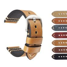 Vintage Leather Watch Strap With Stainless Steel Pin Buckle Handmade Wrist Watch Band Genuine Leather Watch Belt High quality uyoung handmade watch strap custom fit the fat sea pa441 watch retro make old ox leather watch belt male