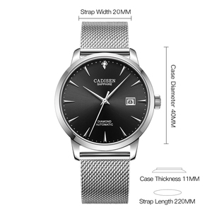 Image 4 - CADISEN Ultra thin Simple Classic Men Mechanical Watches Business MIYOTA 9015 Watch Luxury Brand Genuine Leather Automatic Watch