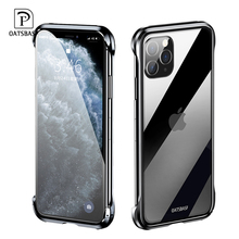 Oatsbasf nova caixa de telefone de vidro temperado metal para iphone 11 11pro simples transparente drop proof capa de telefone para iphone 11 pro max