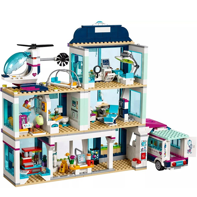 41318  Friends City Heartlake Hospital Ambulance Block Set Princess Undersea Palace Compatible With Girls Toys For Children