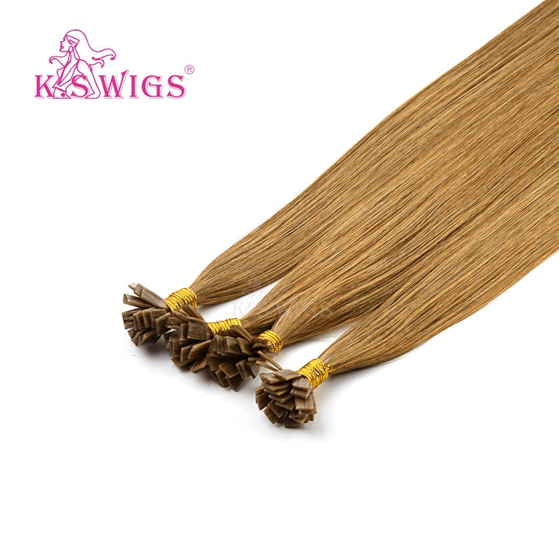 K.S Wigs 24'? Remy Pre Bonded Flat Tip Human Hair Extensions Straight Double Drawn Capsules Keratin Fusion Hair 1g/s