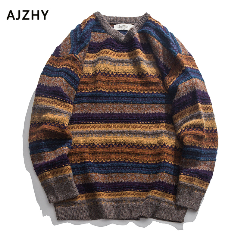 2019 Fashion Korean Striped  Mens Sweaters Casual Winter Sweater Men Hip Hop Knit Pullover Men Big Sizes Mens Sweater Jacket
