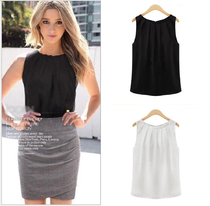 Women Blouses Tops Sleeveless Bottoming Autumn Loose White Shirt Office Fashion Black Blouses Casual