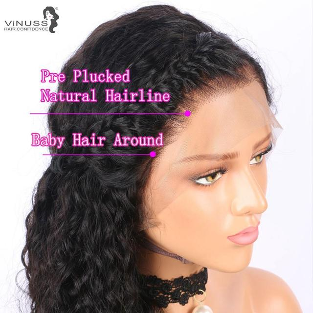 Vinuss Full Lace Human Hair Wigs water wave For Black Women Lace Front Wigs Brazilian Remy Pre Plucked Bleached Knots 5