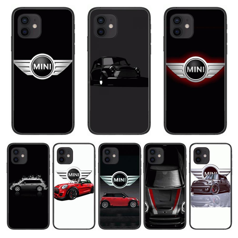 Estilo mini carro capa de telefone para o iphone 12 pro max 11 8 7 6 s xr plus x xs se 2020 mini preto celular escudo