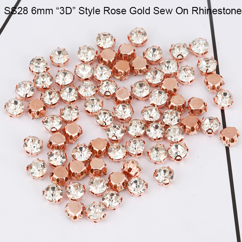 SS28 6mm 3D Claw Glass Sew On Rhinestone With Holes Flat back Rose Gold Plating Crystal Rhinestone For Clothing Decoration