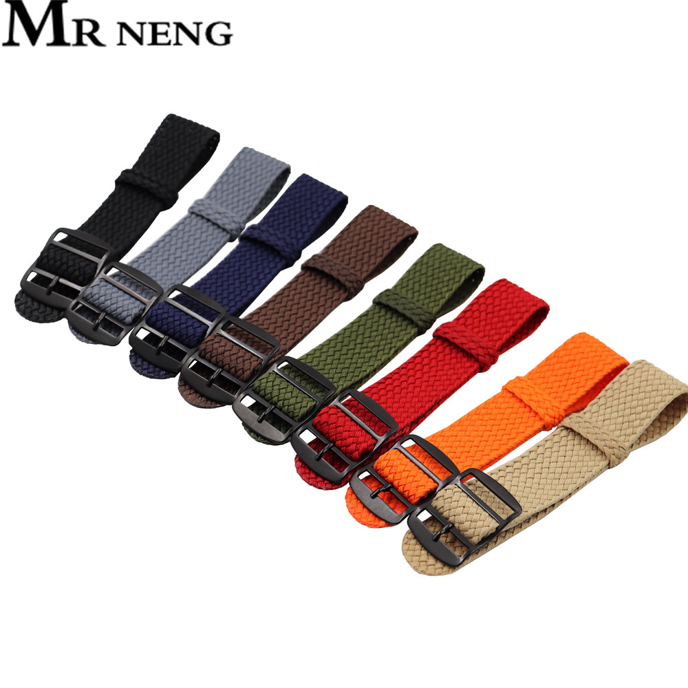 18mm 20mm 22mm Solid Color For Perlon Woven Nylon Watchbands Bracelet Fabric Woven Watch Strap Band Black Buckle Belt Green Navy