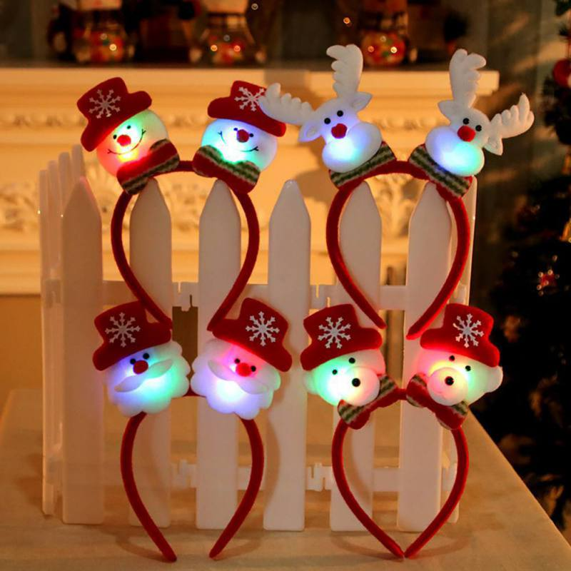 Christmas Luminous Single Double Santa Claus Deer Snowman Button Battery Operated LED Light Glowing Head Decoration Headband
