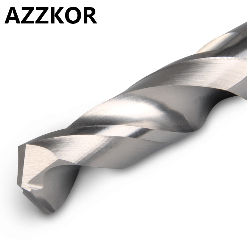 AZZKOR Carbide Alloy Drill Tungsten Steel Super Hard Stainless HRC50 Twist Bit Straight  Drill For CNC Lathe Machine 12.3x38x75L