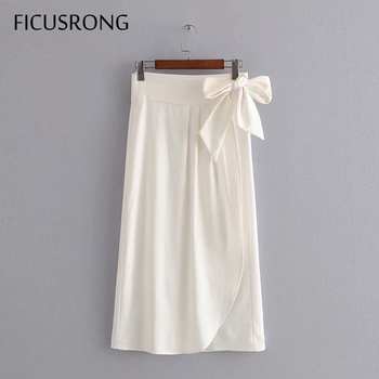 2020 New Summer Office Lady Asymmetrical White Skirt Women Solid Lace-Up Cotton Linen Ankle-Length Long Skirts FICUSRONG