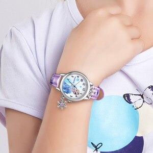 Image 5 - Frozen Ⅱ Disney Princess Series Elsa Luxury Bling Rhinestone Crown Snowflake Pendant Beautiful Girls Watches Children Watch New