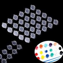 10 Strips 60 Pots Empty Paint Strips Mini Paint Box Pod Arts Crafts Plastic Storage Containers