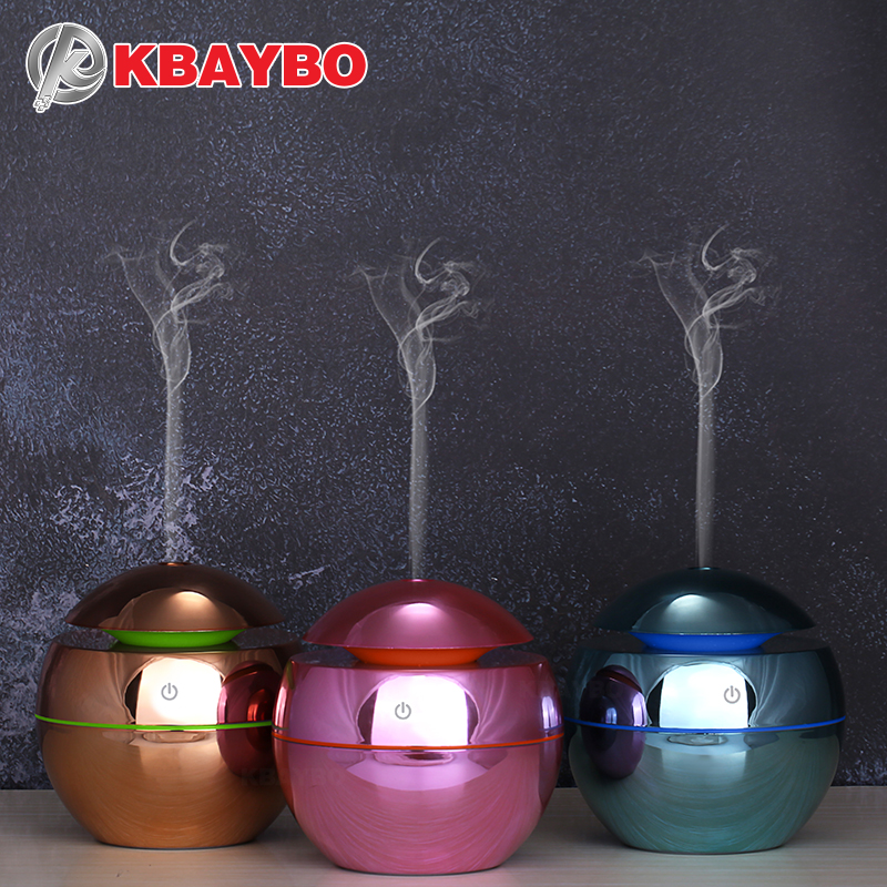 KBAYBO NEW 130ml USB Ultrasonic Air Humidifier Diffusers Aromatherapy Essential Oil Diffuser Humidifier Plating For Home Office