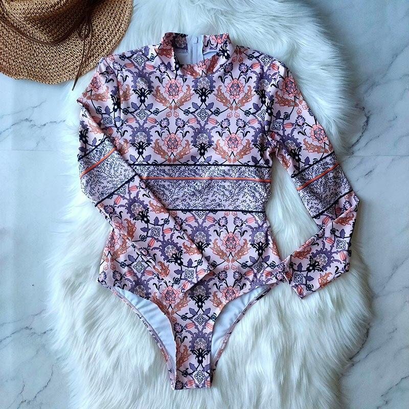 Цельный купальник с геометрическим принтом, одежда для плавания с длинным рукавом, женский купальный костюм, ретро купальник, винтажный Цельный купальник для серфинга - Цвет: RI19426W1
