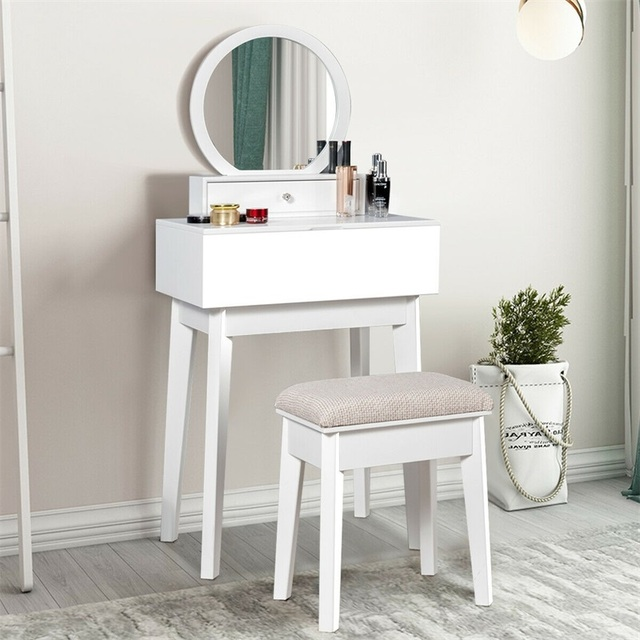 Bedroom Furniture White Makeup Dresser Table Dressing Wall Mounted Vanity Mirror with 2 Drawer HW65956 5
