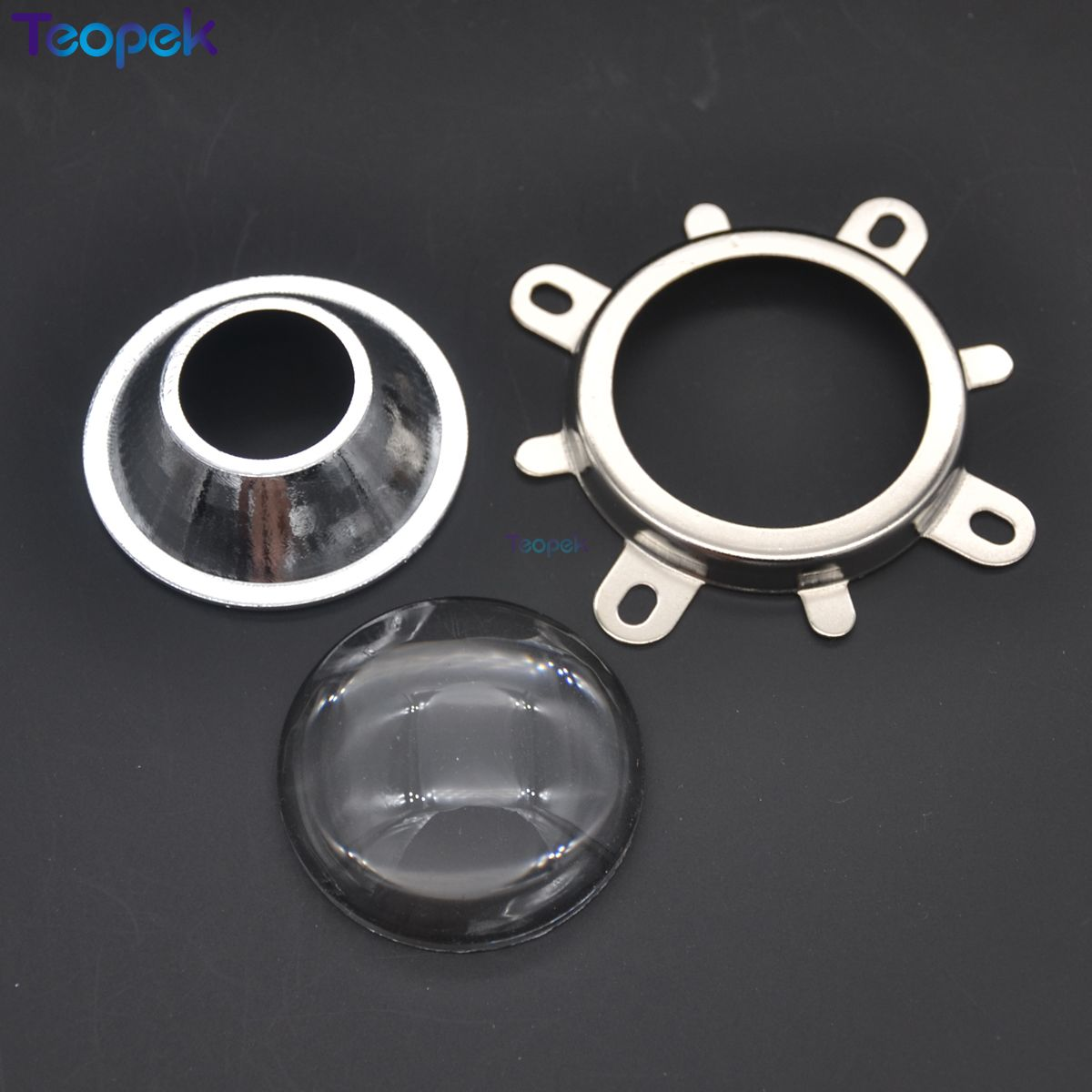 44mm LED Lens Set 60 Or 120 Degree Lens + Round Hole Reflector Collimator + Fixied Bracket 3 In 1 Kit For COB LEDs