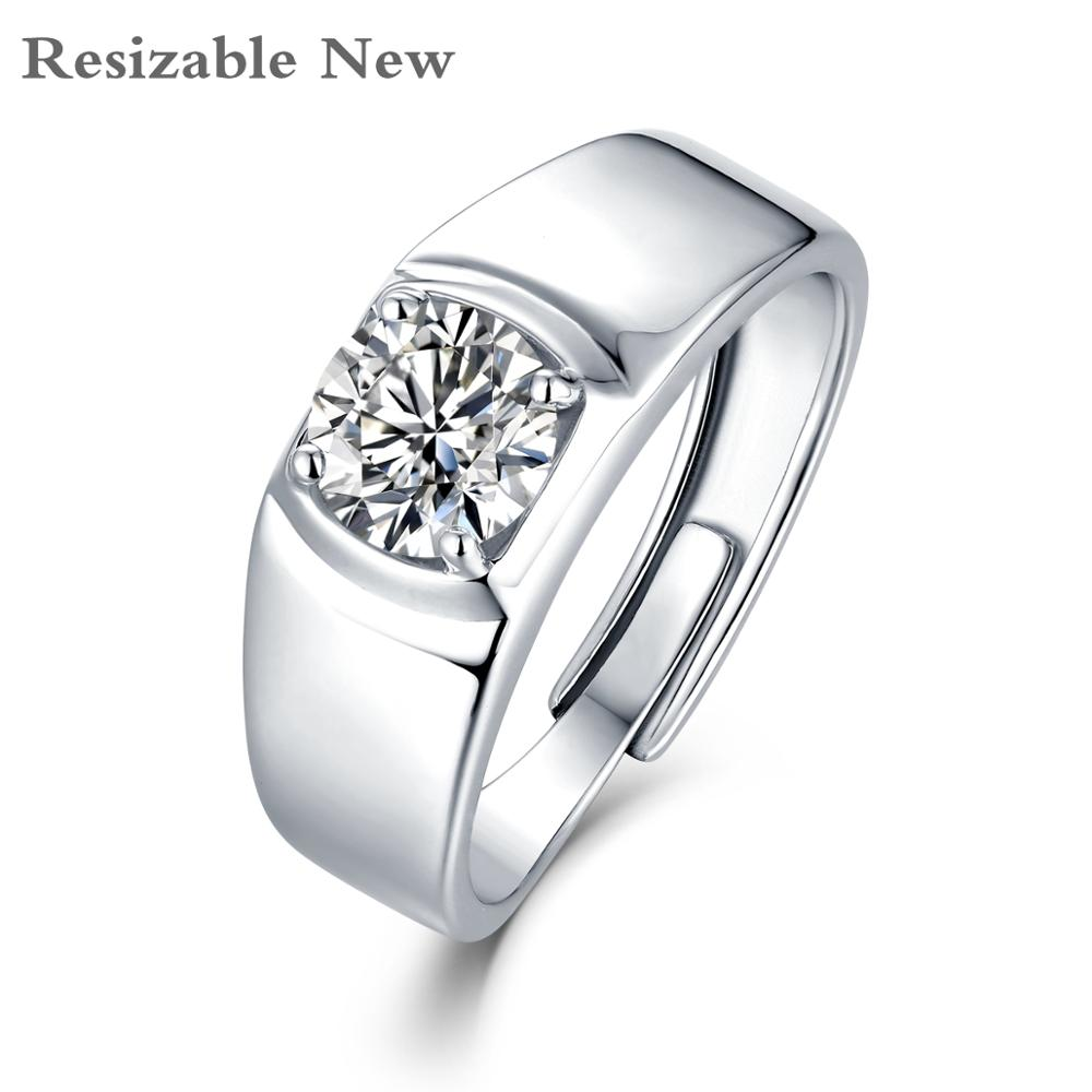 Moissanite anneau pour hommes réglable 925 en argent Sterling D couleur bague de fiançailles de mariage pour homme bijoux de mode avec certificat