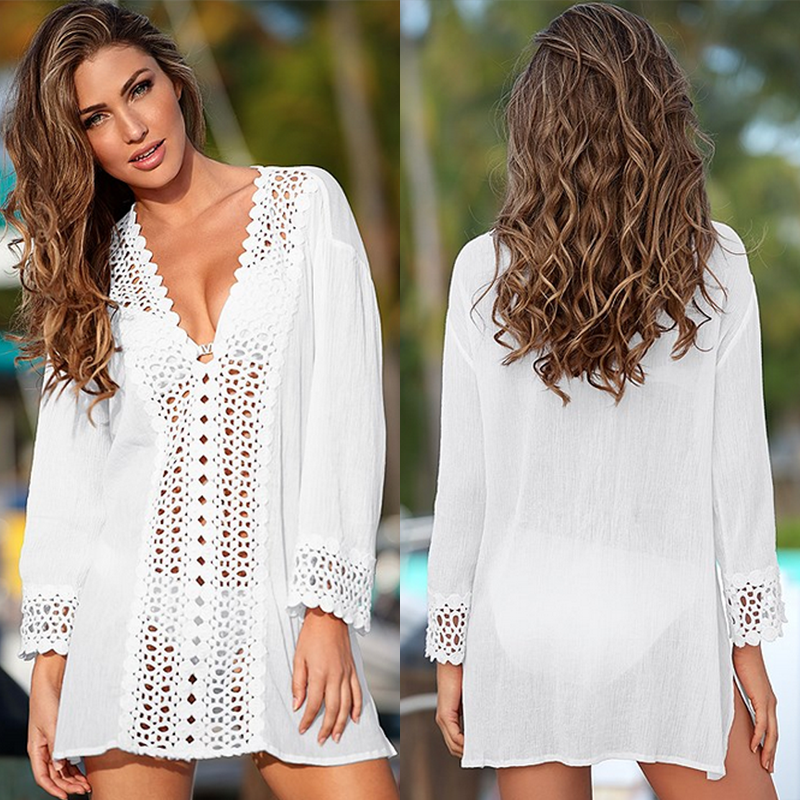 Summer Sexy Beach Bikini Cover Ups Women Lace Crochet White Blouse Hollow Out V-Neck Beach Cover-ups Swimwear