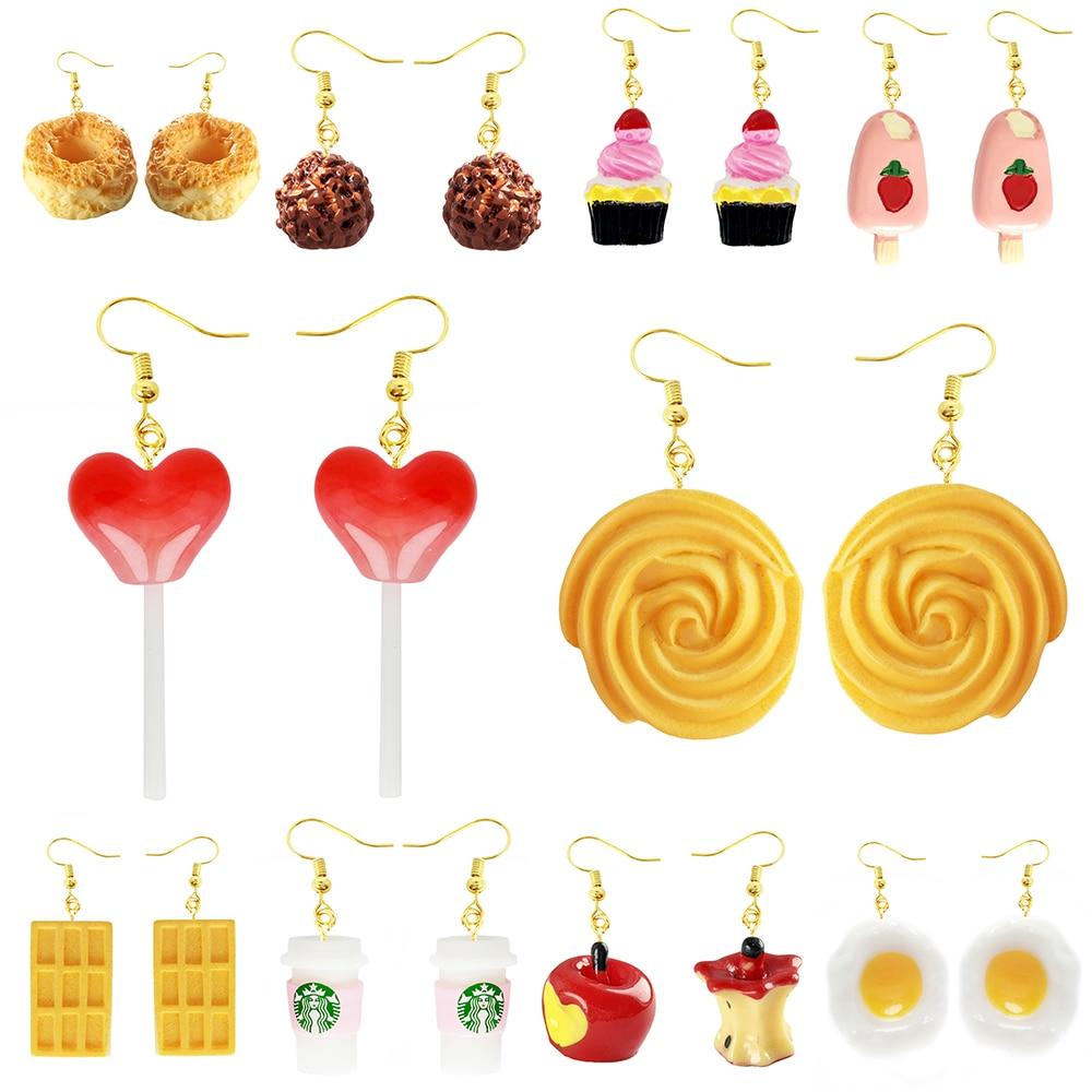 Earring For Women Resin Made Cute Girls Eardrop Funny Gift Handmade Cartoons Biscuit Ice Cream Lollipop Drink Fruit Chocolate