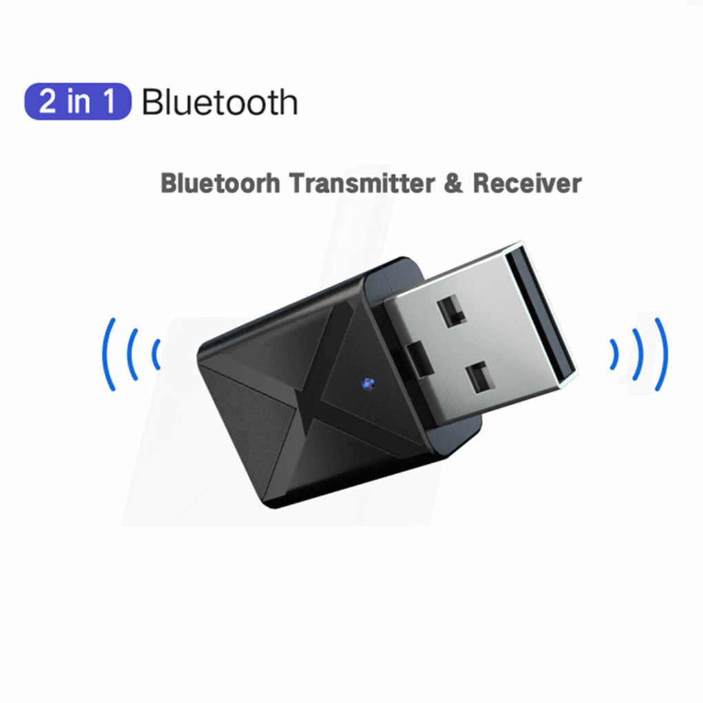 2 In1 Bluetooth 5.0 Audio Receiver Transmitter Adaptor Nirkabel Mini 3.5 Mm Aux Stereo Bluetooth Transmitter untuk TV PC Mobil
