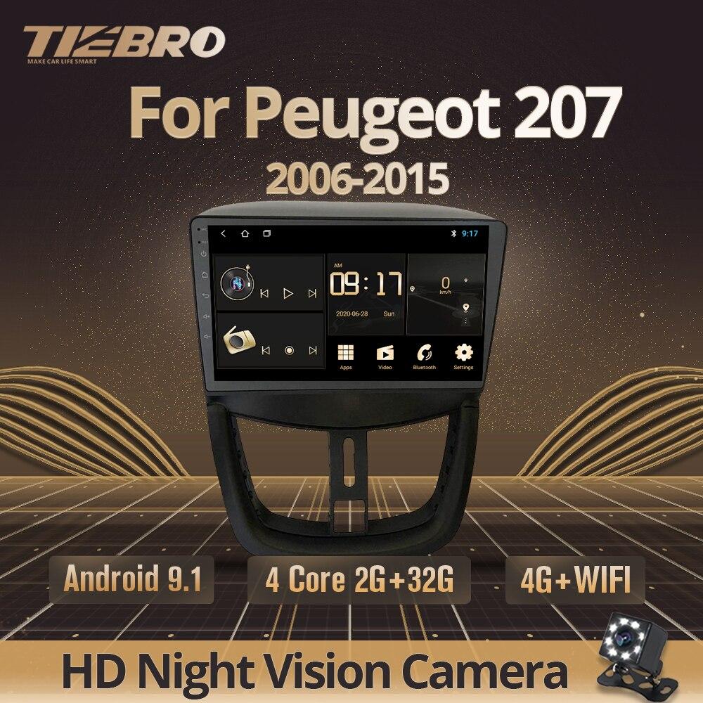 Автомагнитола TIEBRO IPS 2Din Android 9,0 для Peugeot 207 2006-2015 стерео Мультимедийный видеоплеер GPS-навигация магнитола DVD-рекордер