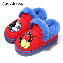 Kids Slippers Winter Keep Warm Cartoon Cute Mickey Pattern Shoes for Boys Girls Home Indoor Non Slip Fur Plush Children Slippers