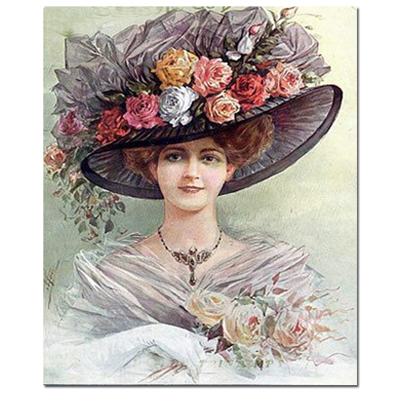 Diamond Painting Tea Party Hats Victorian woman Diamond Embroidery beautful hat woman Picture Of Home Decor Diamond Painting_副本