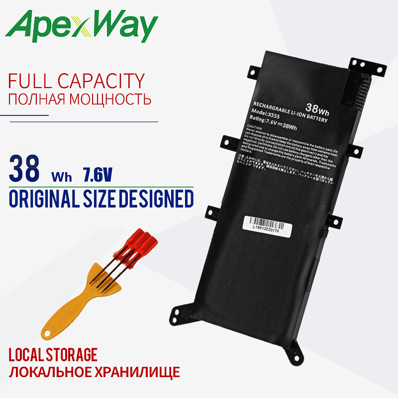 Apexway 7.6V 38Wh Battery Laptop For ASUS X554L X555L X555LB X555LN X555 X555LD X555LP F555A F555U W519L F555UA VM C21N1347