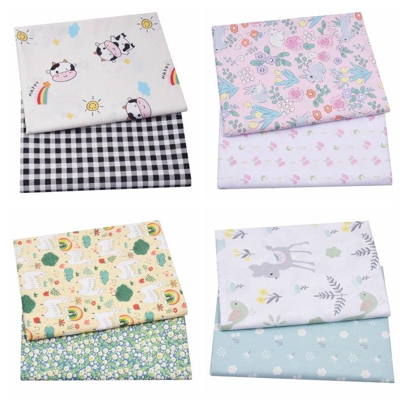 2 pezzi di cervi floreali animali 100% cotone tessuto bambino, cucito trapuntatura lenzuolo quarti di grasso tessuto tessile per bambini piccoli