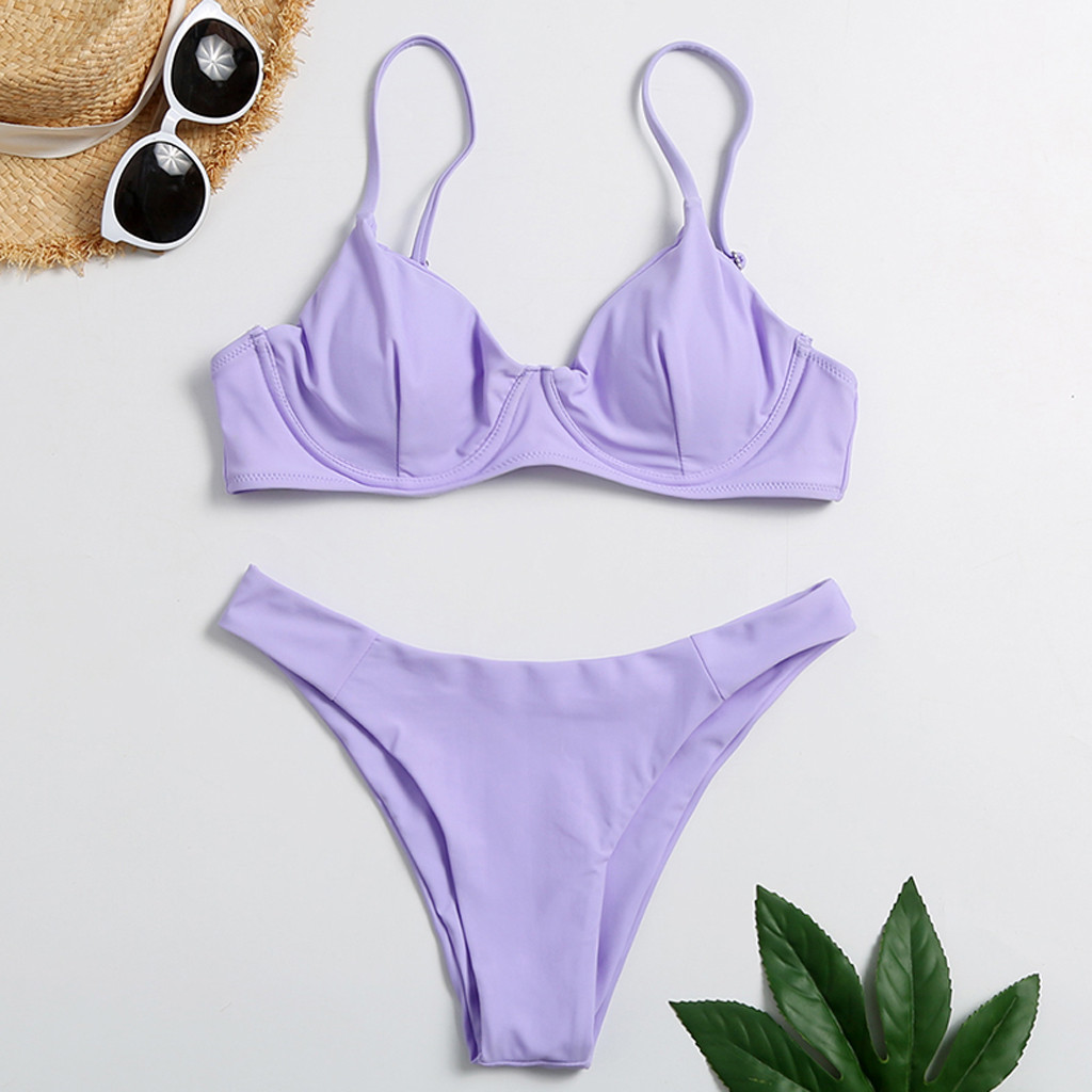 #Z25 2020 Sexy Purple Bikinis Solid Bikini Set White Hot Sale Padded Low Waist Swimsuit Women Swimwear Bandeau Bathing Suits