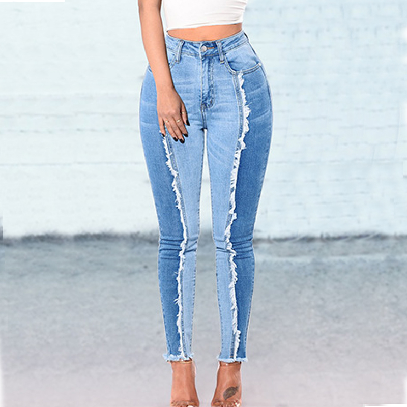 Tassel Patchwork Jeans Woman Plus Size Skinny Jeans New Style Color-Block Denim Jeans Pants Tallas Extra Grandes Para Mujer