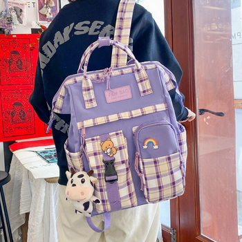 Vintage Casual Women Plaid Purple Backpacks 2021 New Fashion Black Cow Pattern Travel Bag for Teenager Girls Backpack School Bag 1