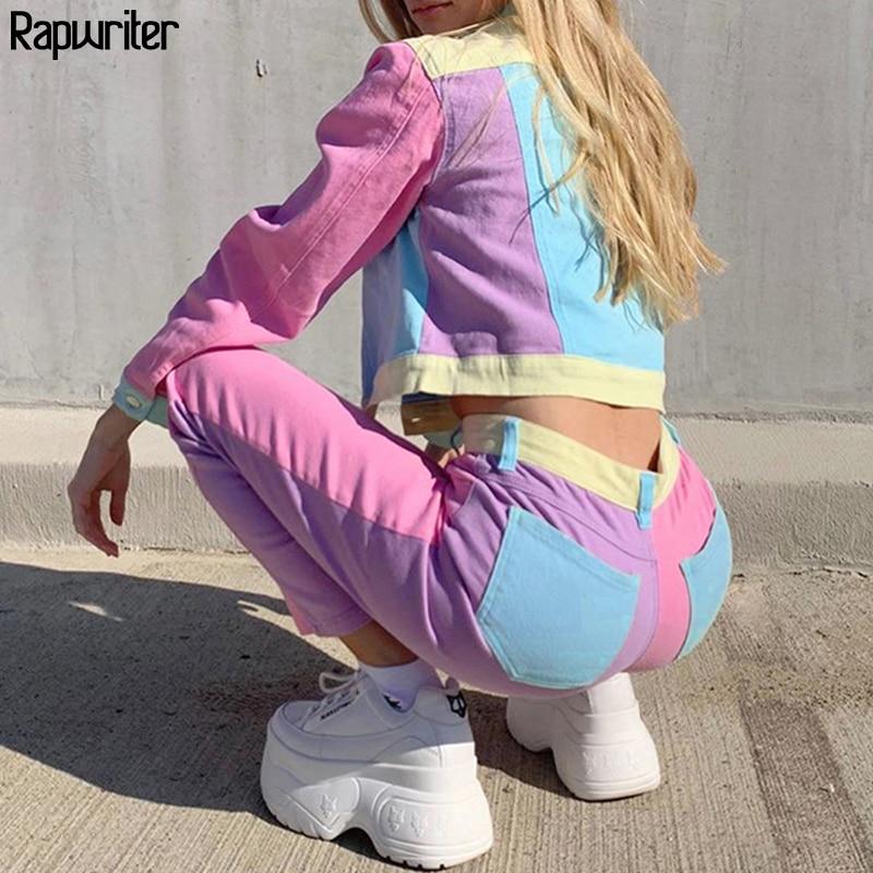 Streetwear Contrast Color Sweatpants Women 2020 High Waist Straight Trouser Patchwork Cargo Pants Capris Pocket bottom Rapwriter