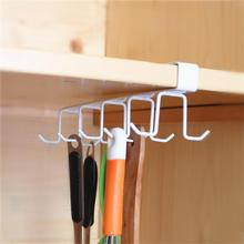 Iron 10 Hooks Cup Holder Hanging Bathroom Hanger Kitchen Organizer Cabinet Door Shelf Removed Storage Rack Home Decor